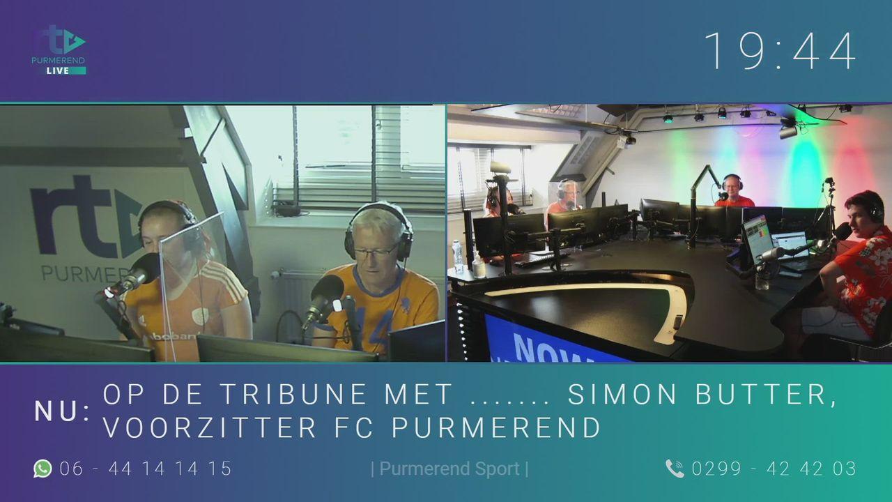Op de tribune met ....... Simon Butter, voorzitter FC Purmerend